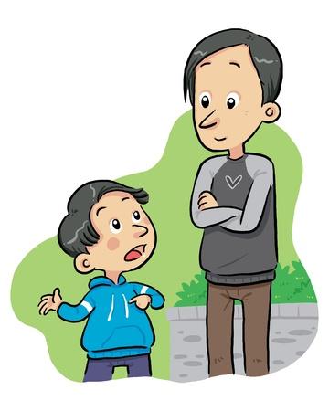 Vragen Vraag Een jongen vraagt aan zijn vader wat vragen Vector Illustratie