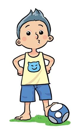 Soccer Boy  A boy loves to play soccer ball Illustration