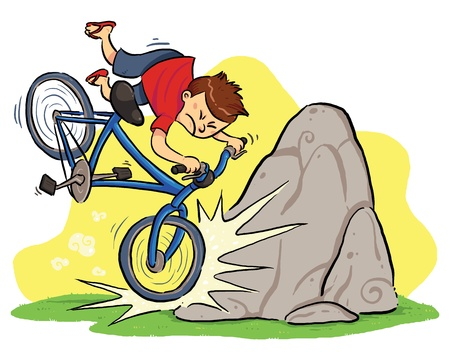 cartoon accident: Hit A Rock  A boy cycling and then hit a rock