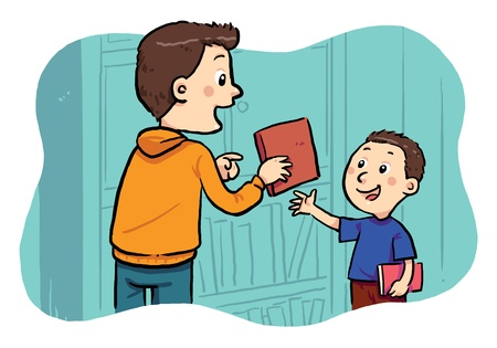 Borrowing A Book  A boy borrowing a book in the public library Stock Vector - 19257630