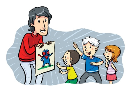 Children Heroes  A man showing a hero image to children    Illustration
