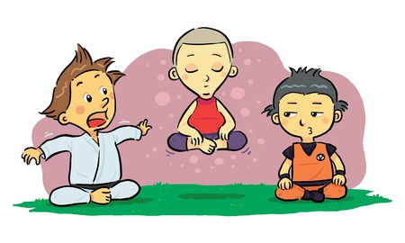 Children Meditation  A group of children learning meditation Vector