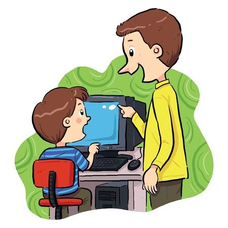 コンピューターを学ぶ少年の学習方法を運用コンピューターに