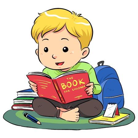 pencil cartoon: Leyendo un libro Un ni�o sentado y leyendo un libro Vectores