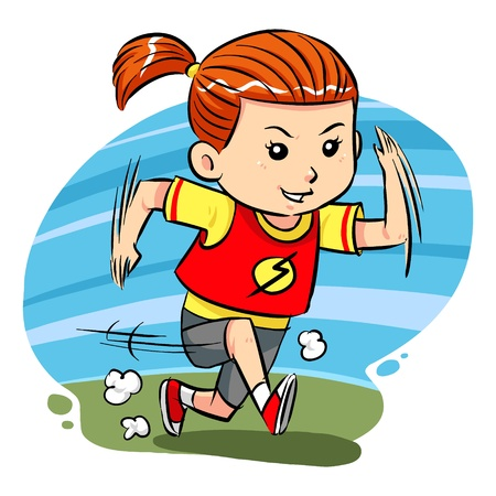 Running Girl  A little girl do running exercise Vector
