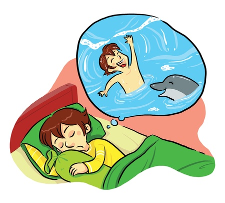 Sweet Dreaming  A boy dreaming on a beach swimming with dolphin