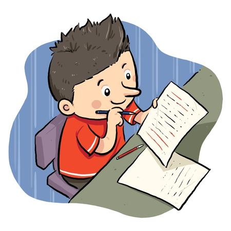 宿題 A 少年の宿題をやっています。  イラスト・ベクター素材