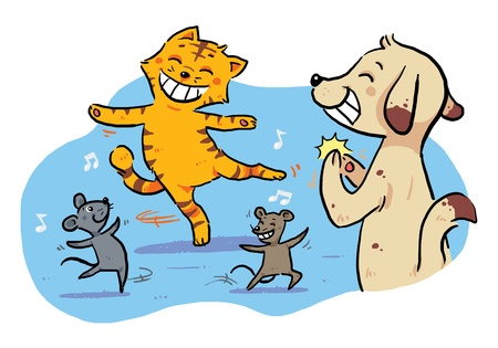 fables: Dancing Pet Animals  A happy dancing celebration by cat, mouse, and dog.