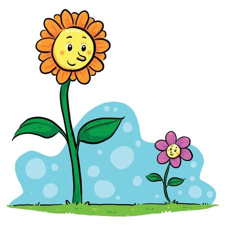 Flower Friends  A friendship between flowers Stock Vector - 19257628