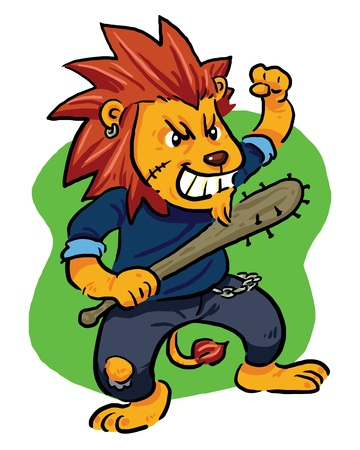 Mad Lion  Angry lion, bad lion with his bat  Vector EPS8 file  Illustration