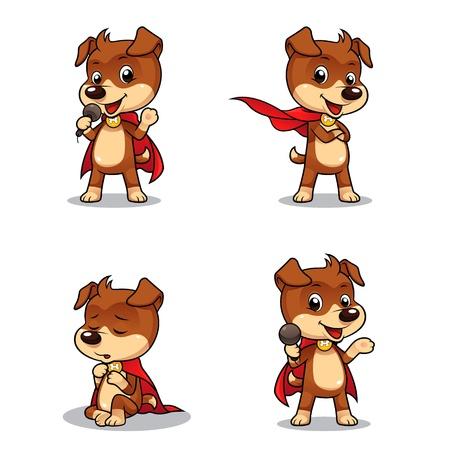 Superhero Dog Puppy 01 4 różnych pozach z superbohatera szczeniak