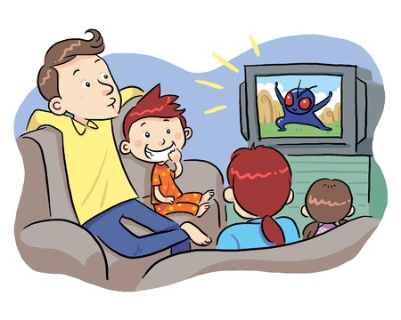 mom son: Watching TV With Family  A family watching TV show  Illustration