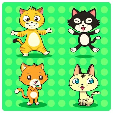 gato caricatura: Gatos divertidos personajes del gato en 4 estilos diferentes