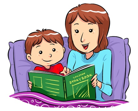 woman sleep: Bed Time Story  Mother reading bed time story for her son Illustration