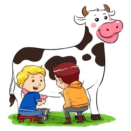 Een koe te melken Kinderen melken van een koe in ranch boerderij Stock Illustratie