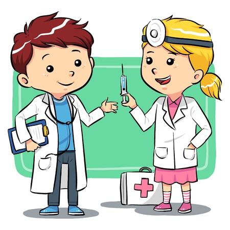 hopital cartoon: Docteur enfants Les enfants jouent � �tre un des m�decins Illustration