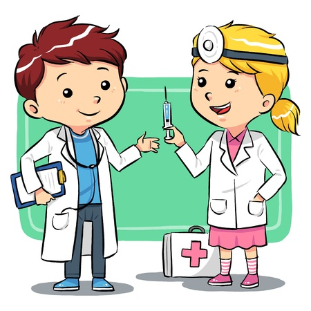hospital caricatura: M�dico Ni�os Ni�os jugando a ser un m�dico