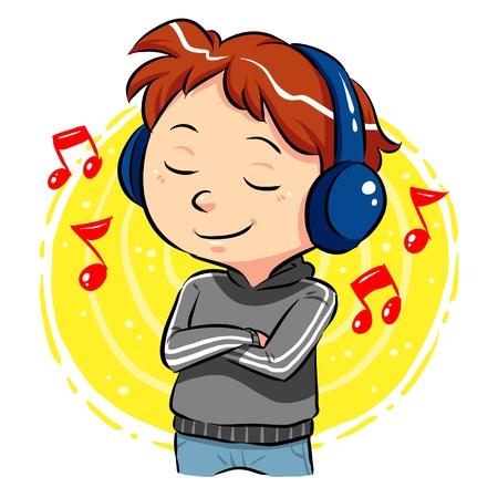 音楽を聴く音楽をヘッドフォンで彼の頭の上を聞いている少年