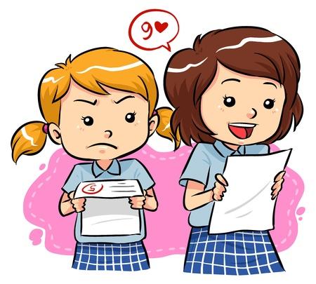 Resultados del examen de las chicas jóvenes reciben los resultados del examen con diferentes expresiones