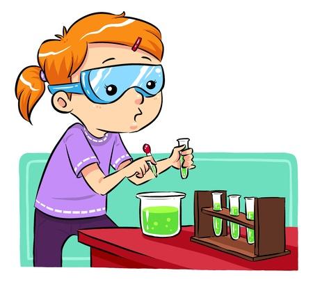 Science Learning  A girl doing some science experiments Vector