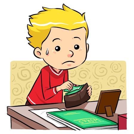 Stelen van geld Een jongen stelen van geld in zijn vaders portemonnee Vector Illustratie