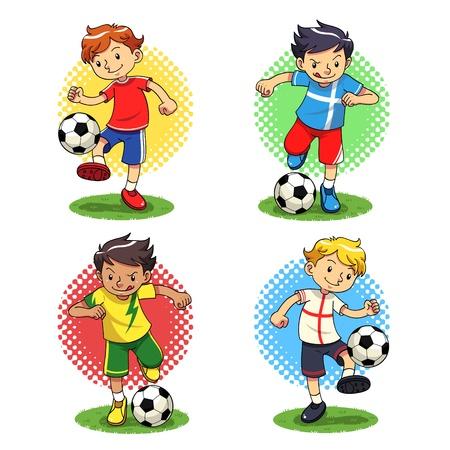 futbol soccer dibujos: Fútbol Niños Soccer player chicos con diferentes uniformes