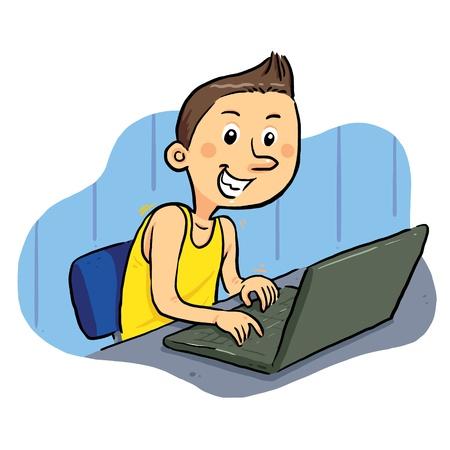 chat online: Laptop Geek Boy browsing internet with laptop