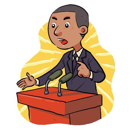 聴衆の前で政治家のスピーチ