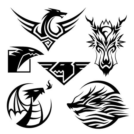 serpent noir: Dragon Symboles 6 Symboles de dragon diff�rents