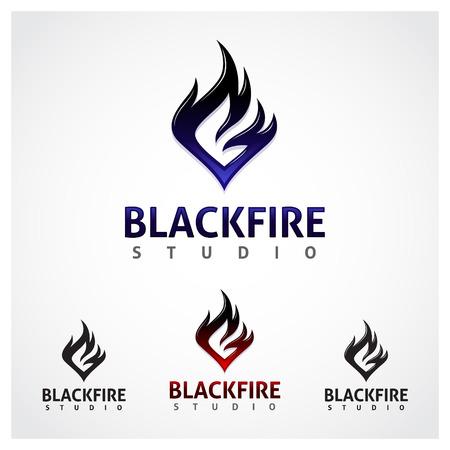 flame letters: Black Fire Studio A black fire studio symbol