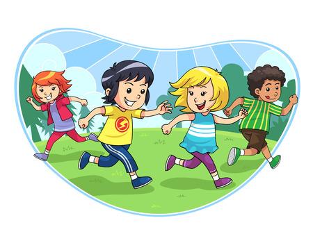 再生の遊んでいる子供たちのグループをキャッチし、実行をキャッチします。  イラスト・ベクター素材