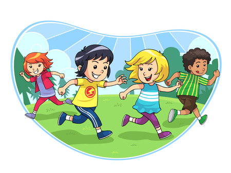 Catch And Run Play A group of children playing catch and run
