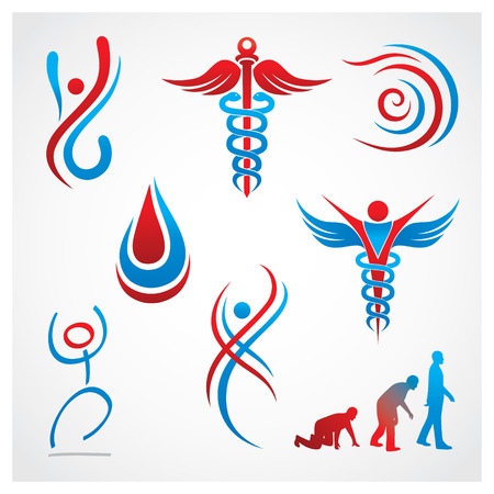 vascular: Health Medical Symbols Set of health and medical symbols