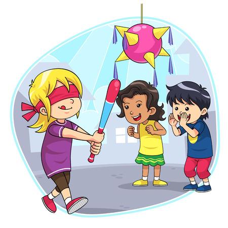 遊んでいる子供たちのヒット、ピニャータ A グループ ヒット ピニャータ
