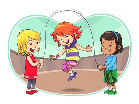 ジャンプ再生ジャンプをスキップして遊んでいる子供たちのグループをスキップします  イラスト・ベクター素材