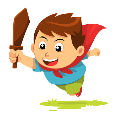 Boy In Action  A jumping boy with cape and wood sword