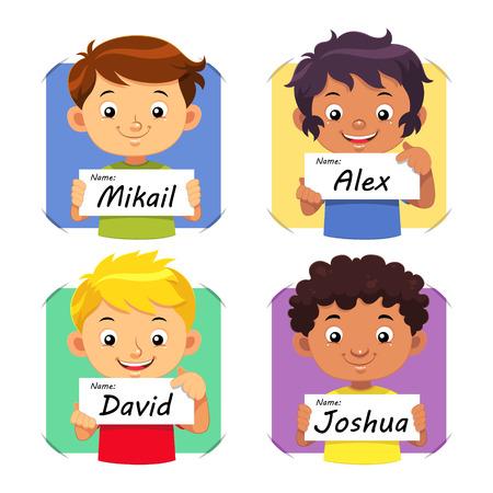 Boys Name  Boys holding their name tag
