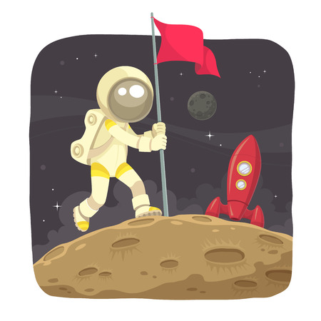 moon surface: Space Adventurer  Astronaut landing on the moon and give a flag sign  Illustration