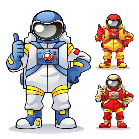 Astronaut Astronaut in pose give a thumb Vektorové ilustrace