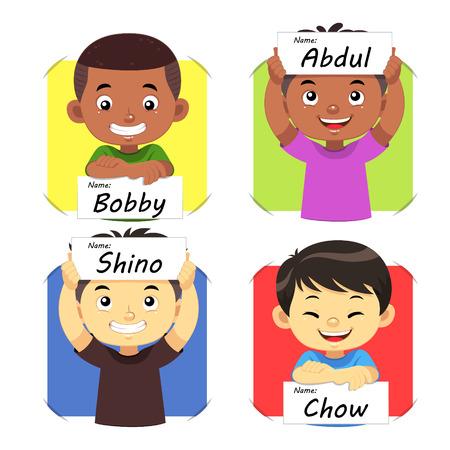 Jongensnaam 2. Jongens die hun naamplaatje. Stock Illustratie