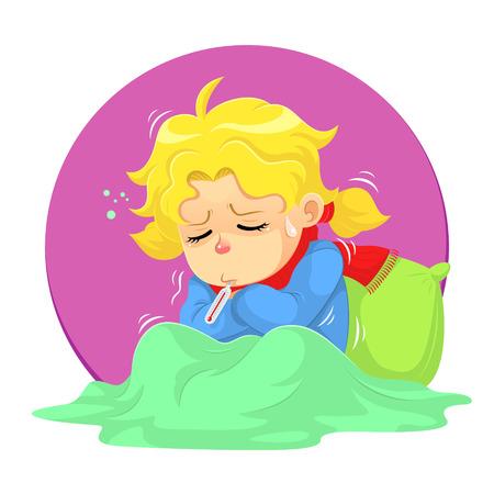 ni�os enfermos: Se enferm�. Una ni�a de conseguir enfermedad y necesita un poco de descanso.
