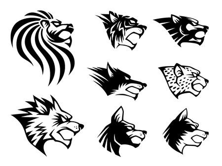 silueta tigre: Símbolo Bestia Salvaje. 8 símbolo cabeza bestia salvaje diferente.