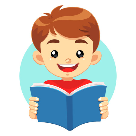 read book: Little Boy Reading A Blue Book. A little cute boy reading a blue book with happy face. He like to read and study educational books. Illustration