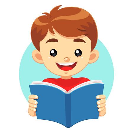 ni�os inteligentes: Ni�o leyendo un libro azul. Un peque�o muchacho lindo que lee un libro azul con la cara feliz. �l les gusta leer y estudiar libros educativos. Vectores