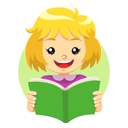Little Girl Reading A Green Book. A little cute girl reading a green book with happy face. She like to read and study educational books.