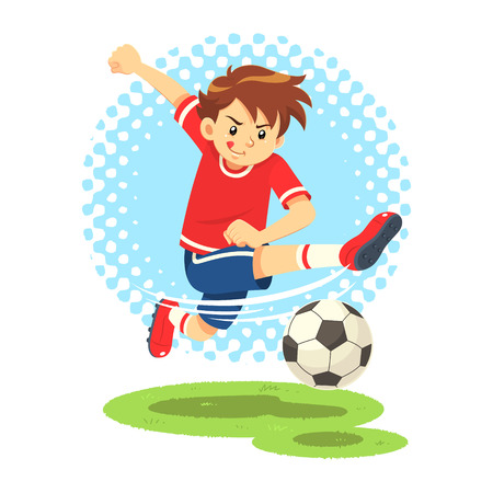 striker: Soccer Boy Shooting The Ball To Make A Goal. A soccer boy wearing red and blue uniform shooting the ball to make a goal as a striker.