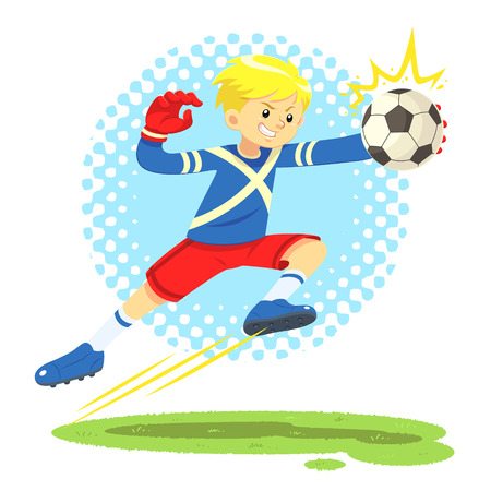 goal keeper: Soccer Boy Jump Aside To Catch The Ball. A soccer boy wearing blue and red uniform jump aside to catch the ball defending the goal post as goal keeper.