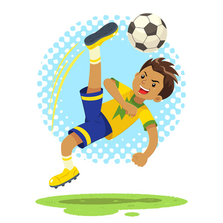 and technique: Soccer Boy Hit The Ball Using Bicycle Kick Technique. A soccer boy wearing yellow and blue uniform using bicycle kick technique to hit the ball.