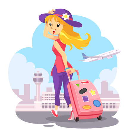 Traveling Girl With Pink Trolley Bag. A blonde girl wearing purple hat with pink trolley bag going to airport. She is happy to go on vacation with airplane. Its a nice holiday to traveling.