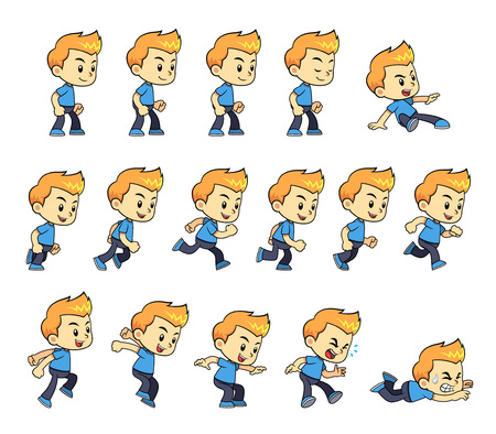 action: Blue Shirt Boy Game Sprites for side scrolling action adventure endless runner 2D mobile game. Illustration